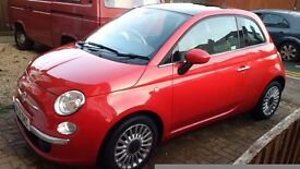 Fiat 500 TwinAir Lounge start Stop Red with Panoramic Sunroof 875cc 2011