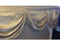 Pair of Large Heavy Light Gold Curtain Pelmet/Swags with layers and fringing
