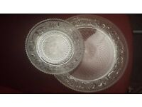 CRYSTAL GLASS DINNER PLATE SET