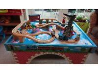 Thomas the Tank Learning Curve Wooden Train Table & Train Set with Trains & Cranky Crane