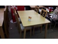Light Wood Table + 4 Chairs
