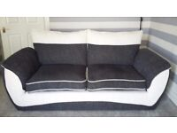 3 Seater Sofa. Black & White. Only 5 months old. New condition