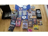 PS2 silver, good condition, with game bundle, 2 controllers, all cables included