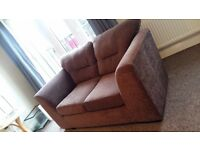 Brown fabric 2 seater