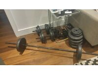 Pro Fitness Vinyl Barbell Dumbbell Set - 50kg