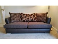 Two 3 Seater Sofas ,Chocolate Brown, Half Leather
