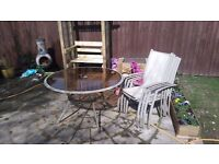 Garden glass table and chairs