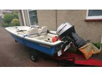 14ft Dory with road trailer and 40hp outboard