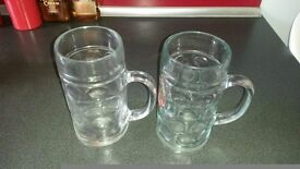 Two beer glasses. Two pints capacity each.