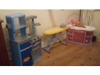 Childrens toy Kitchen, baby bath and ironing board and iron set