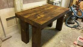 new dinning table hand made in railway sleepers