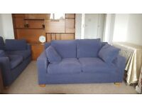 2 x 2 seater sofas blue materail