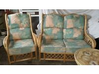 Cane furniture, 2 seater sofa, 2 armchairs and side table