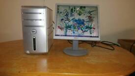 "Dell Inspiron Desktop PC Computer Slim Form & Sony 17"" Monitor"