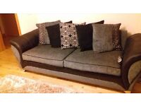 DFS 4 seater grey/black fabric sofa CAN DELIVER