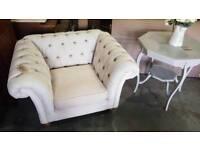 Like new chesterfield fabric armchair
