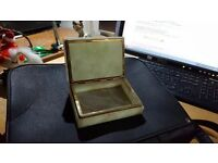 Vintage Jade Glass and Gold Jewelry Box in Good Condition