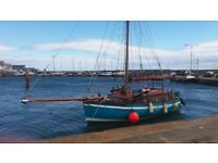 Classic Wooden Sailing Boat 26FT, gaff rig cutter, double ender.