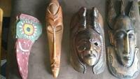 Antique Hand Carved Tribal Wall Masks