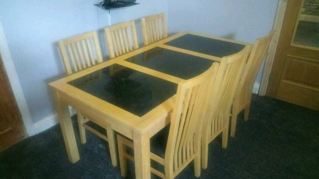 Bentley solid beech and granite dining table with 6 chairs