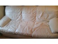 Large 3 seater genuine leather sofa - excellent condition