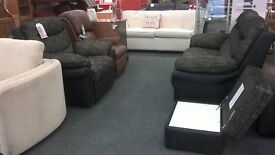 2 Setaer Sofa with a an Electric Recliner Armchair and storage footstool (Suite)