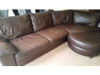 Ikea leather sofa and footstool