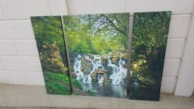 3 part canvas print of woodland water scene in very good condition