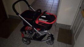 TecTake Pushchair stroller combi stroller buggy baby jogger travel buggy kid's stroller black - red