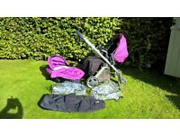 Baby style oyster pram and pushchair purple grape