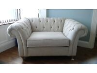 Next Gosford Buttoned Snuggle seat (seats 2) Soft plain mid stone less than 1yr old great condition