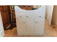 Bathroom high gloss white vanity unit