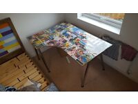 upcycled ikea corner table/desk with vintage posters