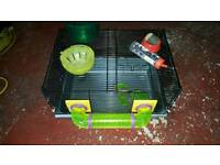Hamster cage small rodent cage with wheel bowl bottle ball etc