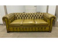 Stunning pair of matching vintage 3 seater leather chesterfield sofas £1500