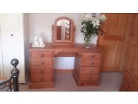 Antique pine dressing table and mirror