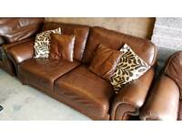 Brown leather 3 piece suite + footstool
