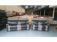 Ex-display Ralph black/grey leather and fabric electric recliner 3+2 seater sofas