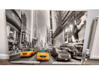 Very Large New York Taxi picture,45x34inch,trendy greys with 2 smaller new york pictures, 3 total