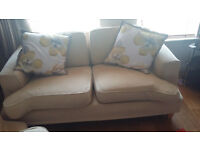 2 seater, 3 seater and footstool (cream / lemon)