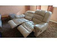 Free Double reclining cream leather sofa