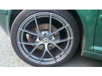 5x100 fox fx005 gumetal alloy wheels with tyres VW Volkswagen Audi Seat Subaru Skoda Toyota