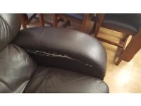 3 seater brown leather recliner sofa FREE