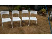 4 ikea dining chairs white