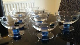 Brand new Denby 8 x glass footed dishes