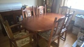 extending table and six chairs, good condition just a couple of small marks