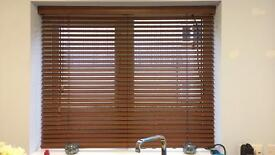 Dark oak real wood Venetian blind