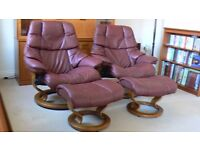 Two Ekornes Stressless Recliner Armchairs with Footstool+ Sofa Delivery Available