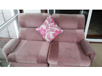 1 and 2 seater Sofa Suite with Foot Stool and Glass Table