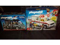 Playmobil. police riot van & US Ambulance. unused.